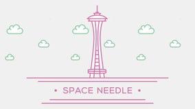 针西雅图空间 一部分的集合 生气蓬勃的被概述的地标4K英尺长度 皇族释放例证