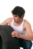 钉头切断机轮胎 免版税库存图片