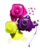 钉子粉红色波兰紫色黄色 库存图片
