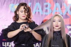 钉子美发师的竞争在哈萨克斯坦 阿斯塔纳 2017年11月10日 免版税图库摄影