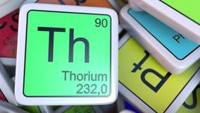 钍在堆的Th块化学元素块的周期表 3d翻译 免版税图库摄影