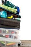 钓具和诱饵在箱子和袋子 库存图片