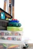钓具和诱饵在箱子和袋子 免版税库存照片