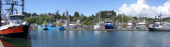 钓鱼全景的锚点小船 库存照片