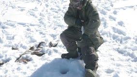 钓鱼冬天低音冬季体育,冬天爱好 影视素材