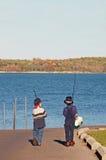 钓鱼去的男孩 免版税库存照片