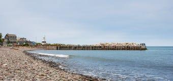 钓鱼在一个船坞末端的人们春天 新斯科舍海岸线在6月 免版税图库摄影