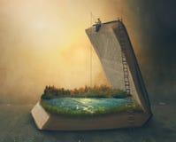 钓鱼在书里面 图库摄影