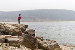 钓鱼在伏尔加河 库存照片