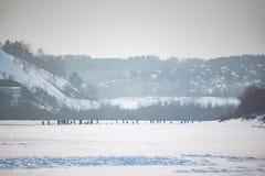 钓鱼在冰的全部人在冬天 库存图片