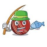 钓鱼在动画片形状的板球 向量例证