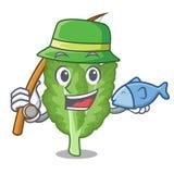 钓鱼在动画片形状的绿色芥末 向量例证