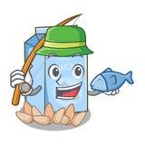 钓鱼在动画片瓶的杏仁牛奶 皇族释放例证