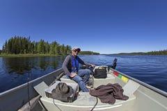 钓鱼在北加拿大 免版税库存照片