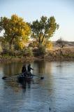 钓鱼在北普拉特河怀俄明的鳟鱼德比 免版税库存照片