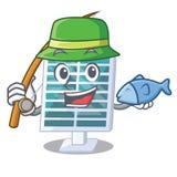 钓鱼在吉祥人屋顶的太阳电池板 皇族释放例证