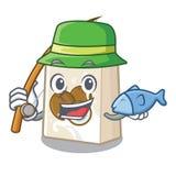 钓鱼在吉祥人形状的cococnut牛奶 库存例证