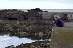 钓鱼在圣Abbs在苏格兰,英国07 08 2015年 库存图片