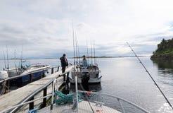 钓鱼在小岛的希特拉岛挪威 风景 水和大鹏 免版税库存图片
