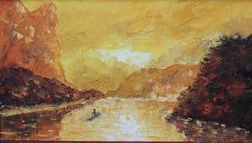 钓鱼在山的湖,雾 免版税图库摄影