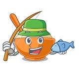 钓鱼在形状吉祥人的土豆泥 向量例证