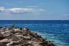 钓鱼在有岩石岸的海的两个人 免版税图库摄影
