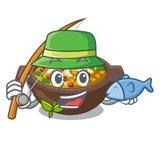 钓鱼在杯子字符的油煎的蔬菜通心粉汤 库存例证