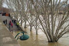 钓鱼在河塞纳河被充斥的河岸,巴黎 免版税库存图片