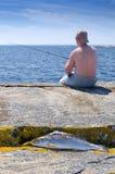 钓鱼在瑞典海岸 免版税库存照片