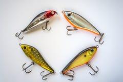 钓鱼在白色的诱剂 免版税库存图片