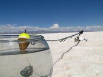 钓鱼在盐沙漠 库存图片