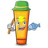 钓鱼在袋子构成的动画片防晒霜 向量例证