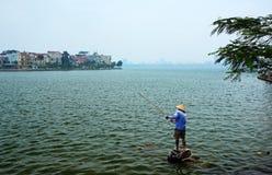钓鱼在西湖 免版税库存图片