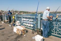 钓鱼在金黄垫铁的brigde的本机 免版税库存图片
