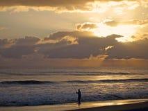 钓鱼在金黄日落下 库存图片
