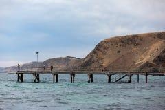 钓鱼在阴云密布的偶象第二只谷跳船的人们 免版税库存图片