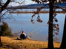 钓鱼在阿肯色河 库存照片