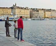 钓鱼在马赛,法国 免版税库存照片