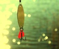 钓鱼在水的诱剂与美好的bokeh 库存照片