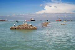 钓鱼在头顿越南的人们 免版税图库摄影