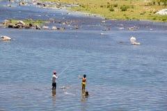 钓鱼在Giăng河 免版税图库摄影