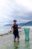 钓鱼奥阿胡岛夏威夷的盐水 库存照片