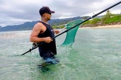 钓鱼奥阿胡岛夏威夷的盐水 免版税库存照片
