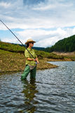 钓鱼妇女的1 免版税图库摄影