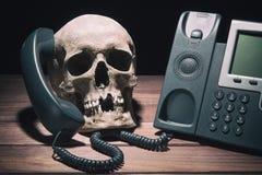 钓鱼室内办公室场面掀动视图工作的概念美元 与现代电话的人的头骨模型在木桌和黑背景上 库存照片