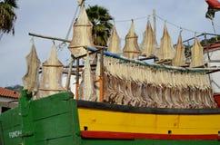 钓鱼干燥在Camara de罗伯斯马德拉岛港  免版税库存图片