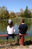 钓鱼年轻人的子项 免版税图库摄影