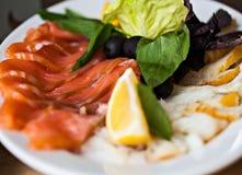 钓鱼开胃菜用柠檬和莴苣在白色 免版税图库摄影