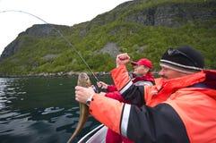 钓鱼成功 库存照片