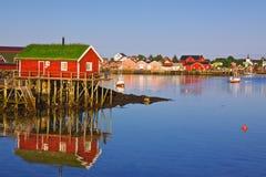 钓鱼挪威村庄 免版税库存照片